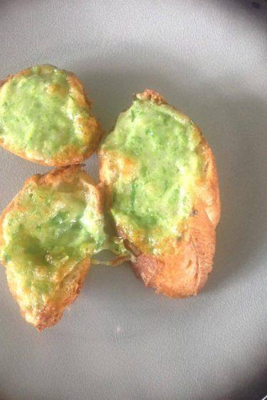 tartine anti-gaspi au vert de poireau et au fromage