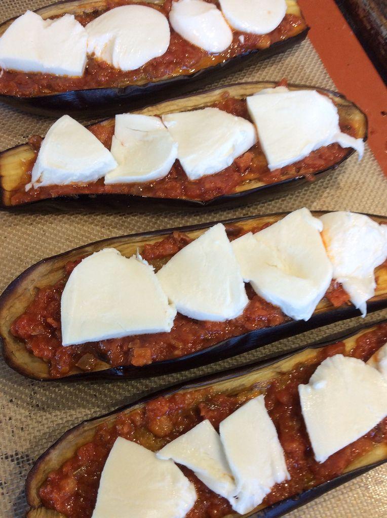 aubergine rôtie comme une pizza