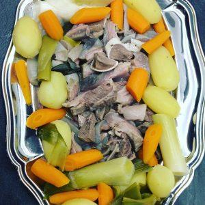 tête de veau et légumes