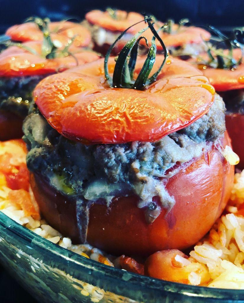 tomate farcie très légère aux aubergine et au boeuf