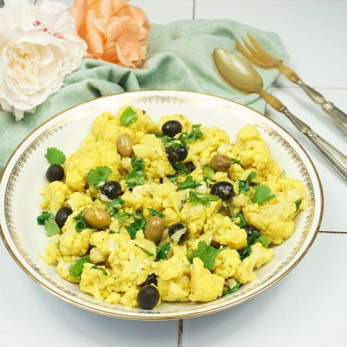 salade de choux fleurs aux épices et aux olives