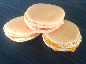 macarons abricots, pas bien beau, les premiers ! lol suivi d'un mélange chocolat, citron, framboise