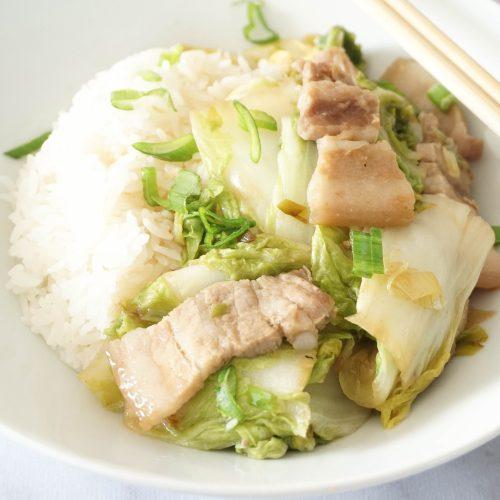 chou chinois lard et riz parfumé