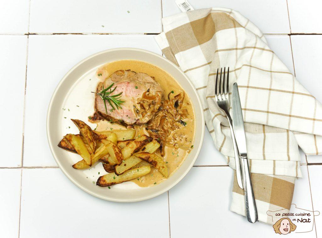Rôti de porc aux oignons et à la moutarde