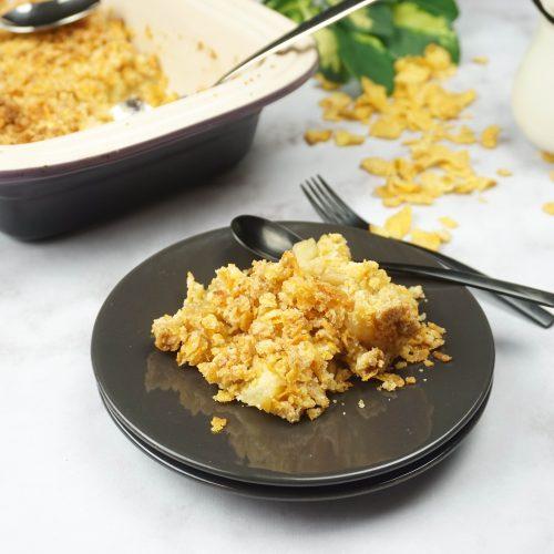 portion de crumble pommes corn flakes